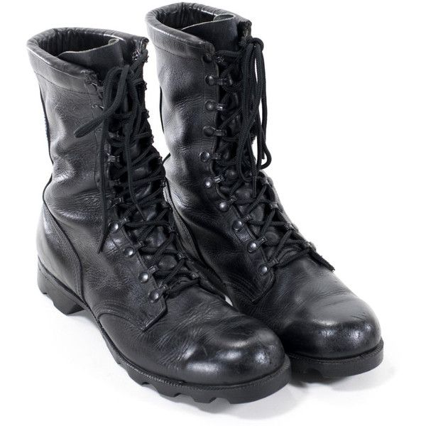 Vintage Military Boots Black Leather Army Steel Toe Combat Boots Mens... ($89) ❤…