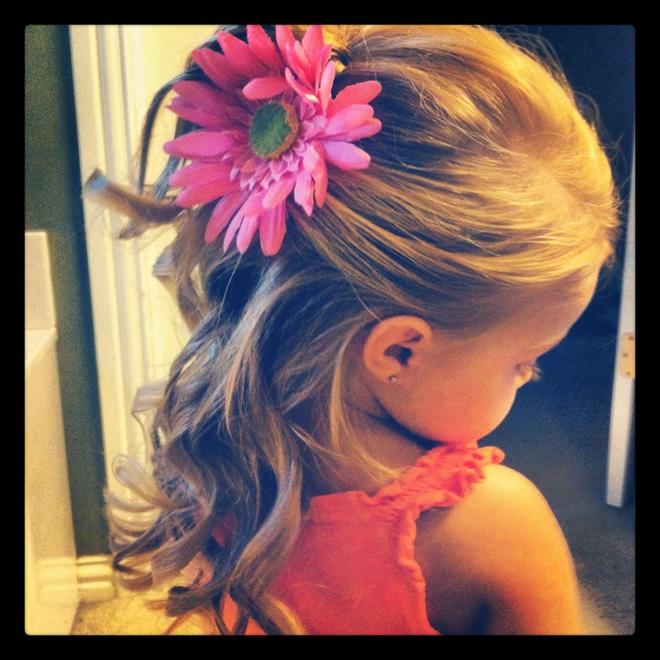 Flower girl hair.. curled with a straightener