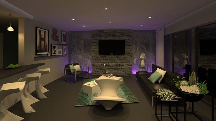 Salon design avec murs d'eau et jeux de lumières.