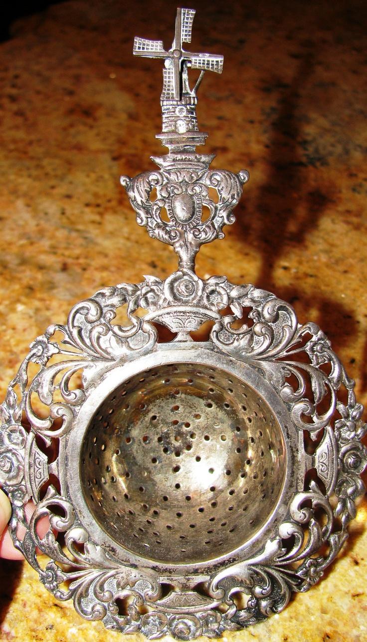 Rare Antique Dutch Silver Tea Strainer w Spinning Windmill. $250.00, via Etsy.