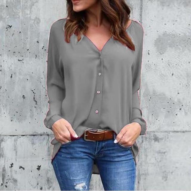052b9dd2a7b Big Yard Tops Women V-neck Chiffon Blouses 3 4 Sleeve Female Shirt Fashion  Large Size Plus Size Feminina Camisas Blusa