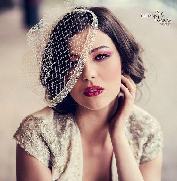 Unique bridal birdcage veil  lace  birdcage veil by KristineBridal, $95.27
