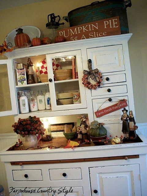 Fall Decor Kitchen Hutch Cottage Shabby And White Decor