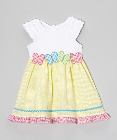 Youngland Yellow Gingham Butterfly Dress - Toddler & Girls