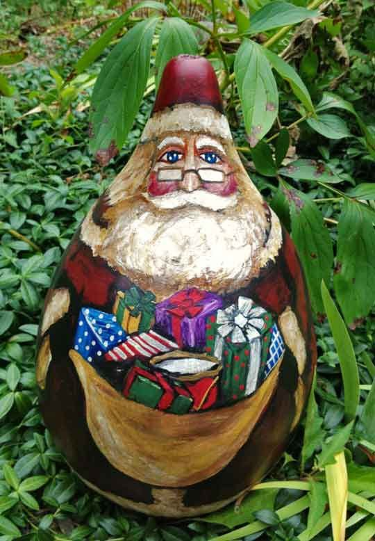 A Large hand painted Santa Claus gourd by EnchantedGourdArt, $65.00