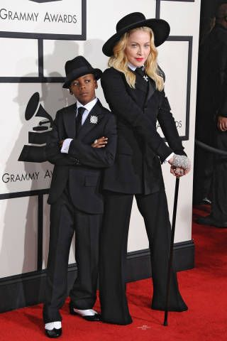 Really, I think that this pair was the best-dressed couple at the Grammys (sorry Amber Rose and Wiz Khalifa). In a classic suit by Ralph Lauren and custom gaucho hat by Eric Javits, Madonna really stood out next to her son, David, who basically is going to take Ryan Seacrest