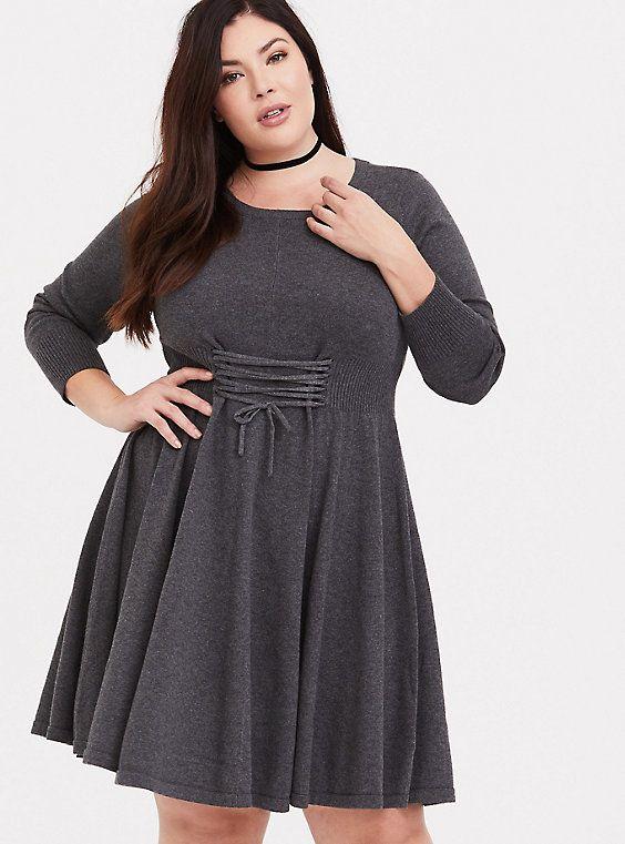 ed272a6bd1d Grey Lace-Up Sweater Dress