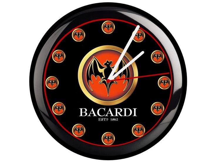Bacardi Wanduhr 23 cm Durchmesser stabiles PVC Gehäuse - Glasscheibe