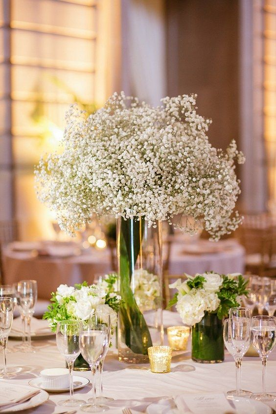 rustic baby's breath tall wedding centerpiece / http://www.himisspuff.com/rustic-babys-breath-wedding-ideas/7/