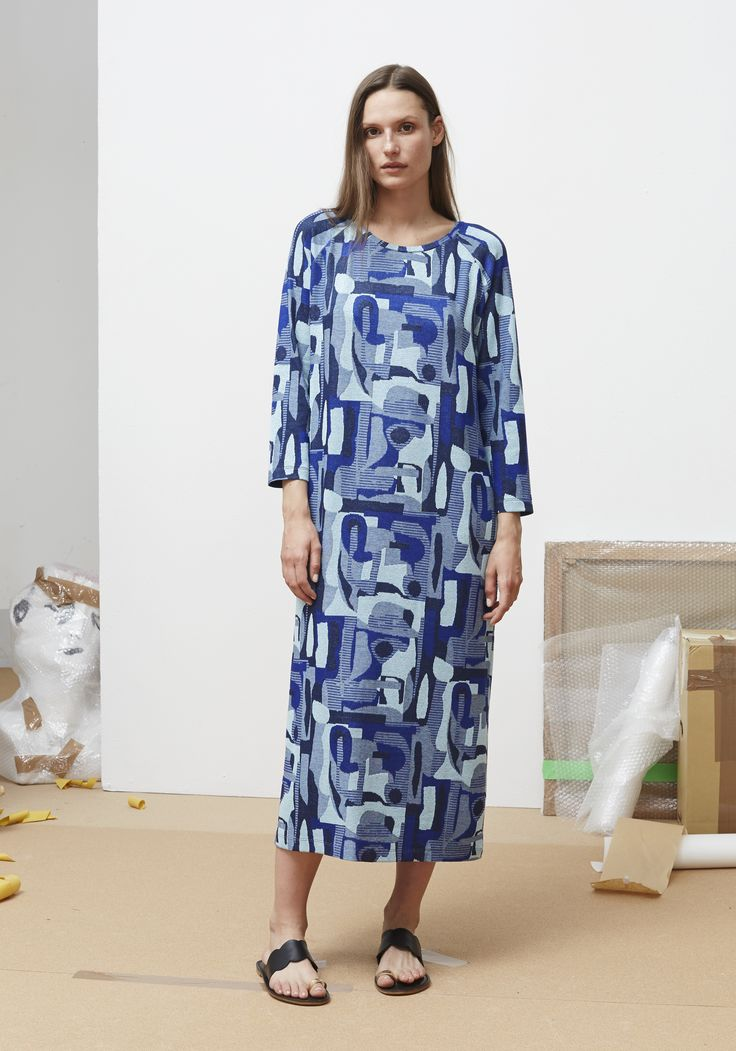 Rodebjer SS16: Dress Mime Abstract Blue, Shoes Kath Black.