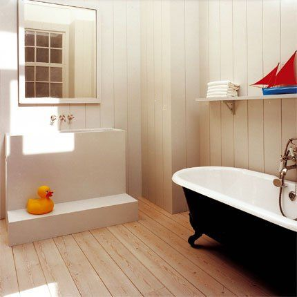 Les 25 meilleures id es de la cat gorie salle de bains for Lambris bois exotique salle de bain