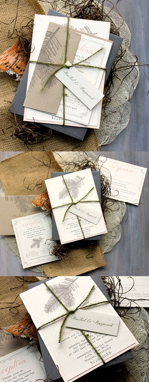 Enchanted Forest Wedding Invitations with Taupe Speckled