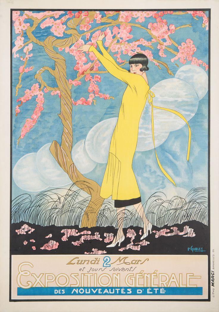 Want to buy this poster?  http://www.affichesmarci.com/shop/exposition-generale-des-ses-nouveautes-dete-lundi-2-mars-et-jours-suivants/ Exposition générale des nouveautés d'été / Lundi 2 mars et jours suivants - Affiches Marci Imprimerie Marci, Bruxelles 1925 Artist POL Goblet