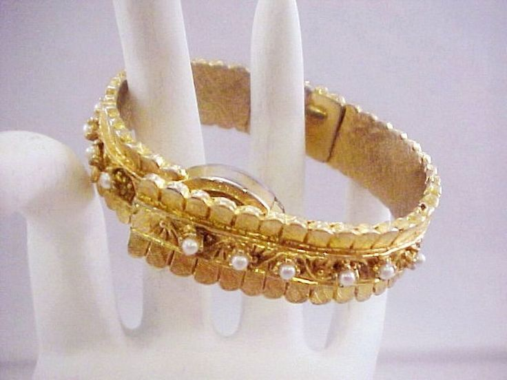 Vtg Norman Basis Swiss 1J Fx Pearl Gold Tone Clamper Bracelet Windup Watch TLC #NormanBasisWatch #Casual