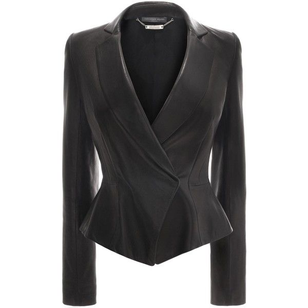 Alexander McQueen Peplum Leather Jacket (3,485 CAD) ❤ liked on Polyvore featuring outerwear, jackets, blazers, coats, coats & jackets, black, 100 leather jacket, leather jackets, leather blazer jacket and genuine leather jackets