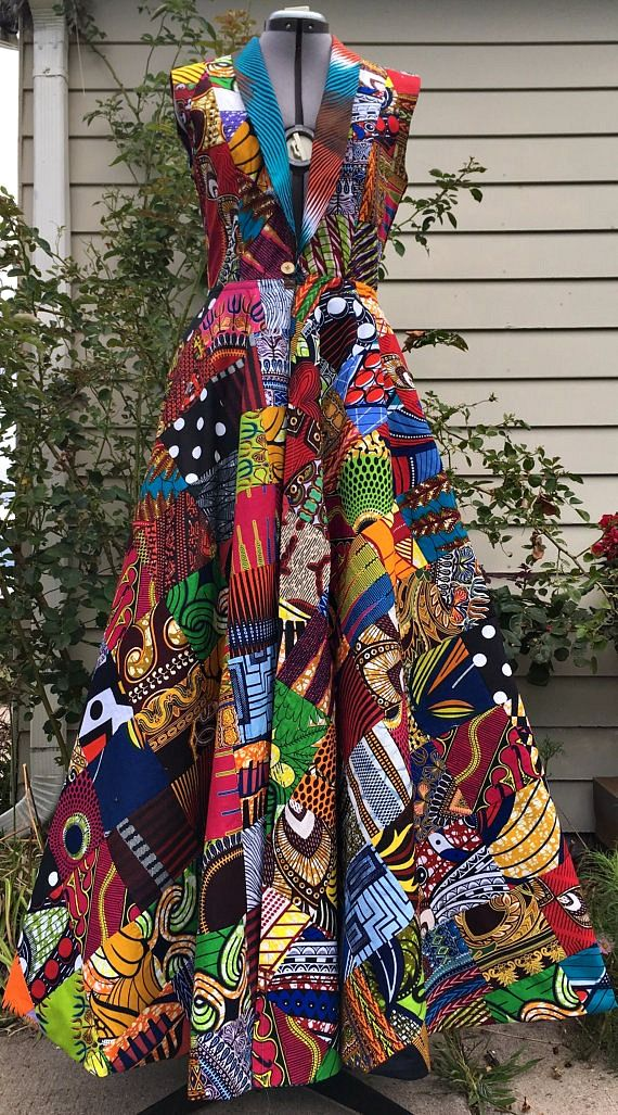Reversible African Wax Print Coat Dress Patchwork and Your Choice of Reverse Print. Ankara | Dutch wax | Kente | Kitenge | Dashiki | African print bomber jacket | African fashion | Ankara bomber jacket | African prints | Nigerian style | Ghanaian fashion | Senegal fashion | Kenya fashion | Nigerian fashion | Ankara crop top (affiliate)