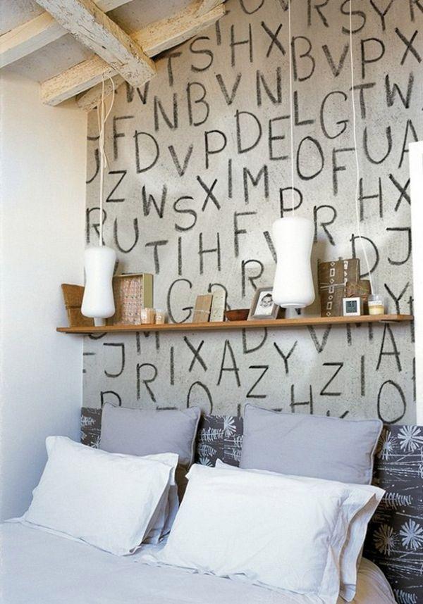 Bedroom With Alphabet Lettering Mural - Decoist