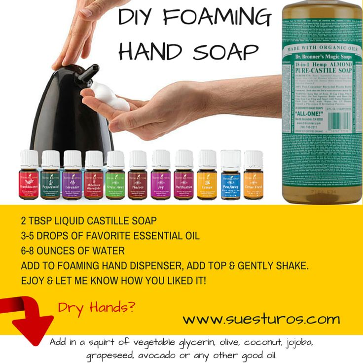 Diy foaming hand soap (For dry hands also) with essential oils.