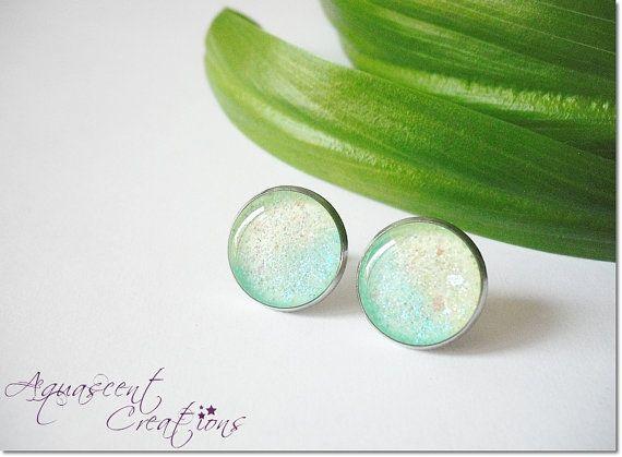 Irridescent blue to green post earrings, small stud earrings, sparkly resin post earrings, shimmering bezel earrings, women gift, girl gift