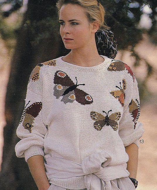 Pullover with butterflies. | узоры спицами | Постила