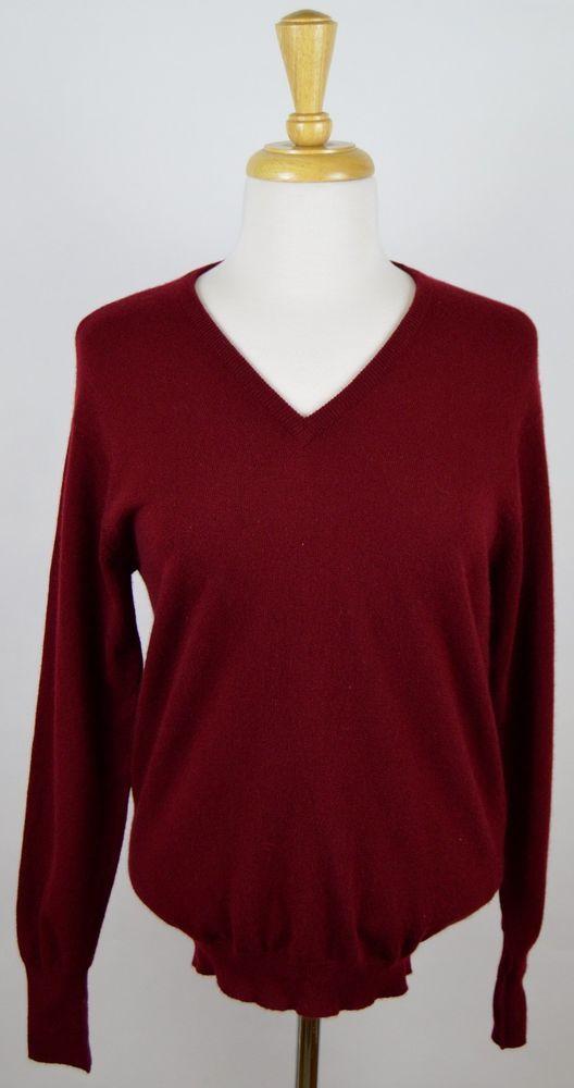 The Scotch House Women's Burgundy LS V-Neck 100% Cashmere Sweater EU 38 US 8 #TheScotchHouse #VNeck