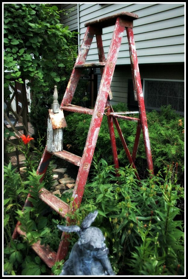Garden Ladder ~ this ladder has a story : )