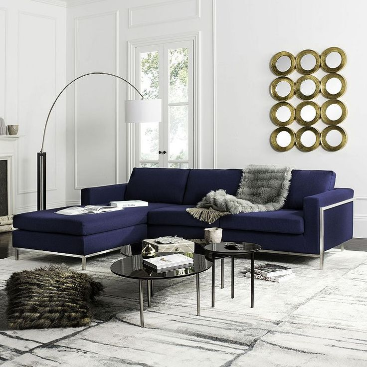 Safavieh Couture Camila Sectional Sofa, Blue (Navy)