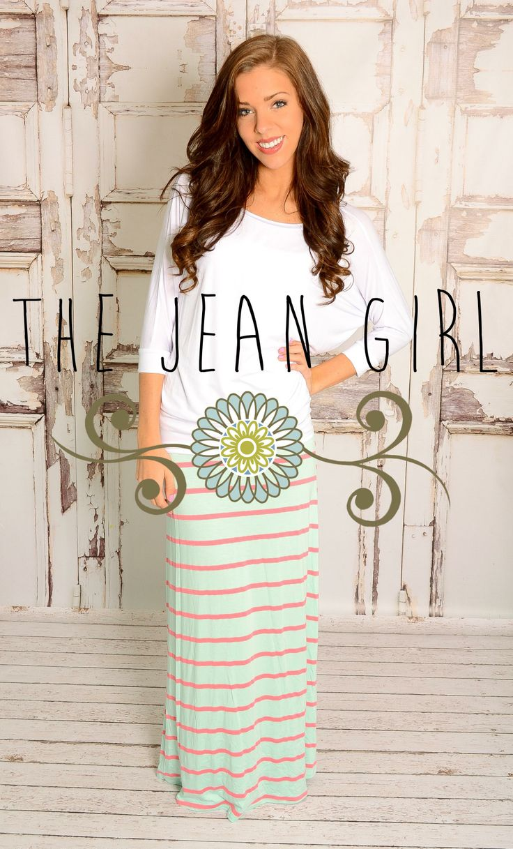 Coral and Mint Maxi Skirt!! Shop here: http://thejeangirlshop.com