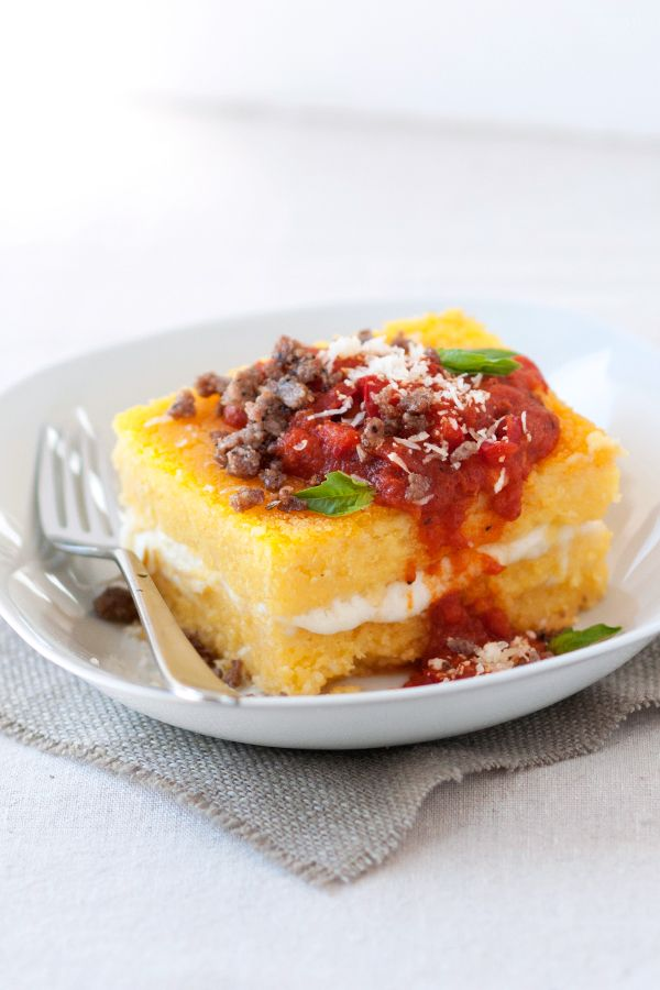 Cheesy stuffed polenta with sausage tomato basil sauce for Italian entree recipes