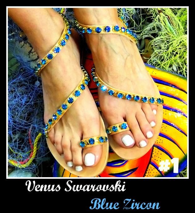 The winner of January, Venus Swarovski Blue Zircon. Be sure to click the link for more! http://www.greekinnovativesandals.com/2015/01/venus-swarovski-blue-zircon.html €159.00