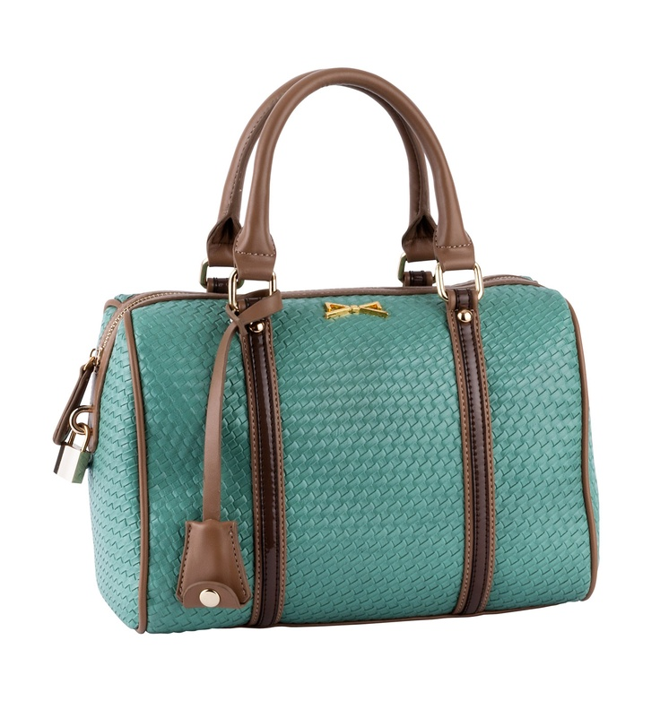 WOVEN HAND HELD BAG WITH PADLOCK DECO