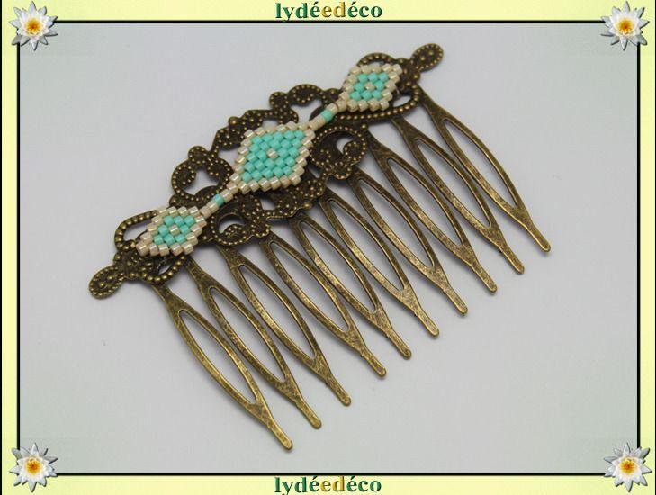 Peigne cheveux vintage mariage perles de verre vert turquoise beige bronze : Accessoires coiffure par lydeedeco