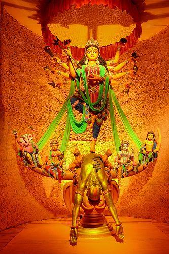 Durga Puja (Bengali: দুর্গা পূজা,Odia ଦୁର୍ଗା ପୂଜା 'Worship of Durga'), also referred to as Durgotsava (Bengali: দুর্গোৎসব Bengali Durgotsava , 'Festival of Durga') or Sharadotsav is an annual Hindu festival in South Asia that celebrates worship of the Hindu goddess Durga.