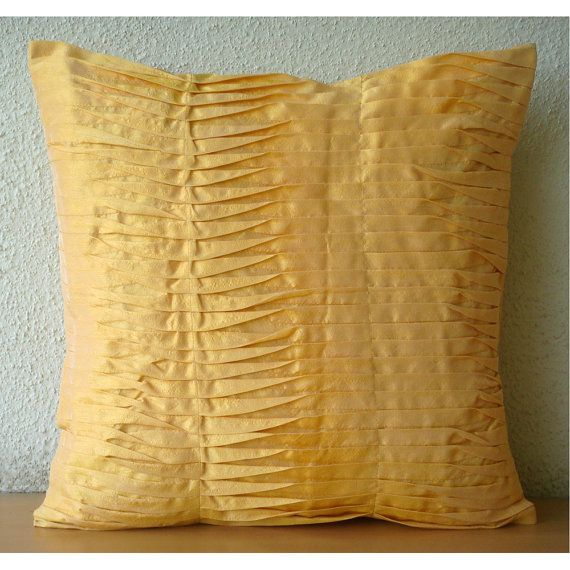 Designer Mango Yellow Pillows Cover 16x16 Silk by TheHomeCentric