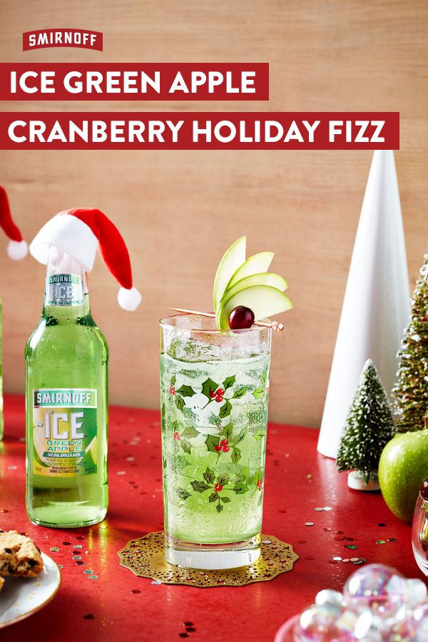 This Green Apple recipe will bring cheer to any tacky sweater shindig. Let's get those festive vibes flowing for real. Green Apple Cranberry Holiday Fizz Recipe: 1 bottle of Smirnoff ICE Green Apple, Sparkling Water, Fresh Cranberries, Green Apple, and Lime Juice. Mix Smirnoff ICE Green Apple, sparkling water, and lime juice over ice and stir. Add in cranberries and apple slices and serve.