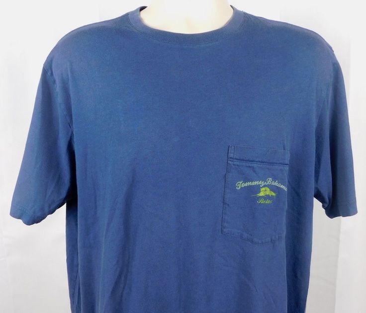 Tommy Bahama Relax Casual Pullover Logo Pocket T-shirt Large Blue Marlin #TommyBahama #PocketTee