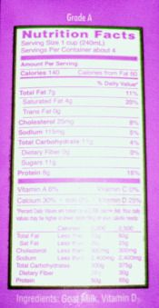 Milk Nutrition Facts Label for Goat Milk - the real info
