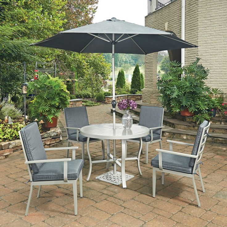 Home Styles South Beach 7 Piece 42 in. Round Outdoor Patio Dining Set with Umbrella and Stand - 5700-3086