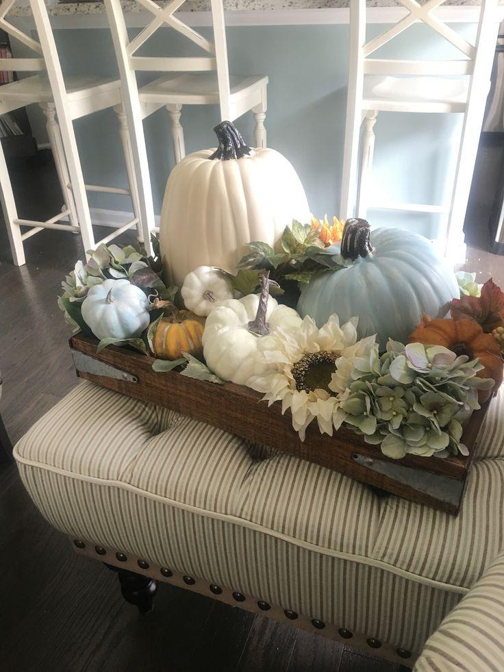 Fall decor idea. Pumpkins, flowers, tray…
