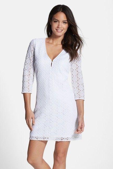 Lilly Pulitzer- Resort White Lamora Long Sleeve Lace Tunic Dress Sz Medium EUC. #LillyPulitzer #TunicDress #Casual