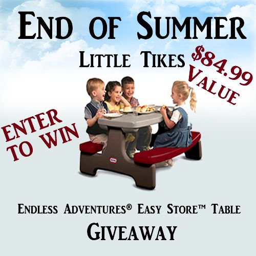 [OVER] Little Tikes Picnic Table Giveaway. Giveaway will end September 7, 2013 at 11:59 pm EST.