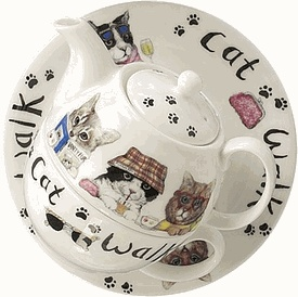 Cat teapot: Teas Time, Cat Walks, Roy Kirkham, Cat Teapots, Afternoon Teas, Reading Books, Paw Prints, Teapots Cat, Walks Teas