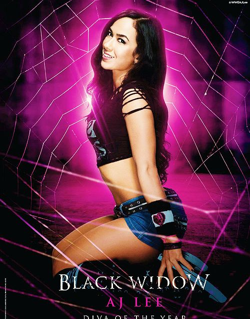 AJ lee the black widow is awesome! I have  every piece of her merchandise! It's awesome! <3 bites!