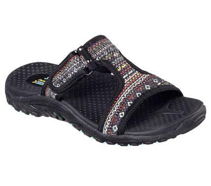 Skechers Women's Reggae Ethnic Vibes Slide Sandal, Size: 7 M, Black/Multi