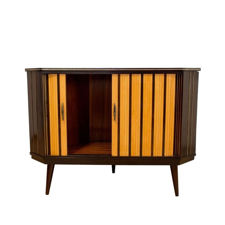 Corner sideboard with rolling shutters, 1940s