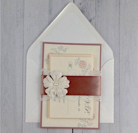 Shabby Chic Wedding Invitation - Rustic wedding - Romantic Wedding Invitation - Mauve and cream Invitation