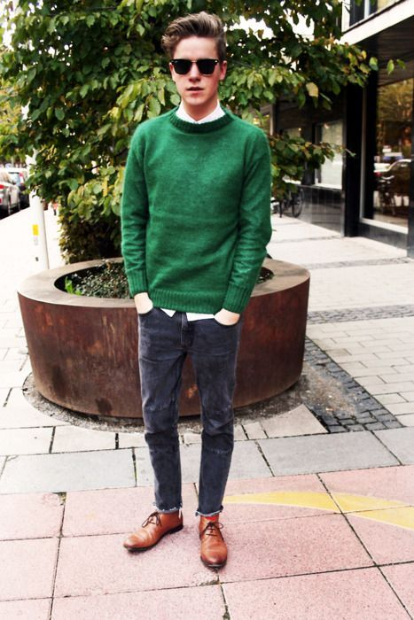 """mensfashionandoutfits: """"Good autumn weather look. 1. Raw Umber colored wingtips. 2. Dark blue/black skinny jeans. 3. (optional) White Shirt. 4. Green sweater. """""""