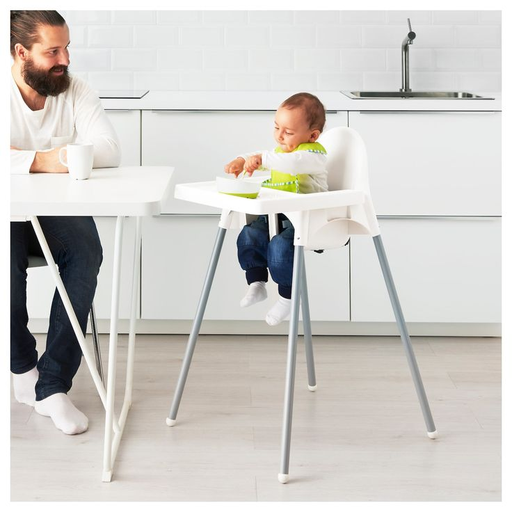ANTILOP Chaise haute avec ceinture blanc, couleur argent