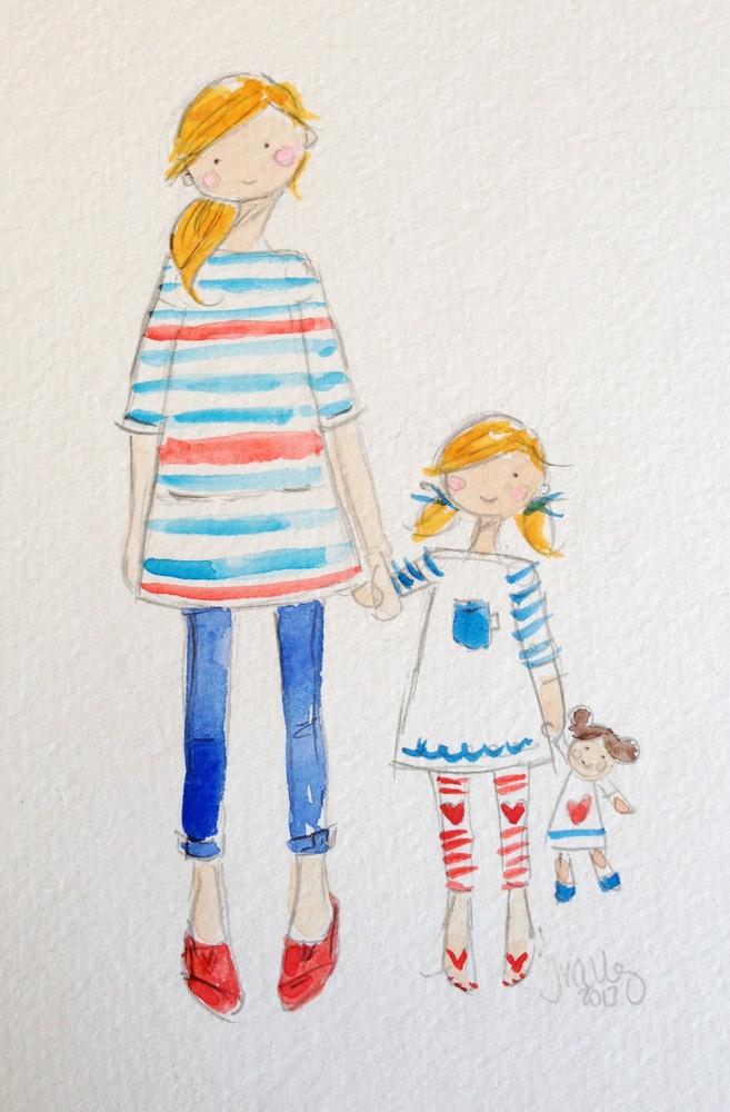 custom mother/daughter watercolor
