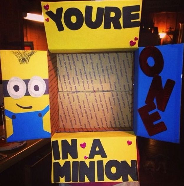 """""""You're one in a minion"""" care package."""